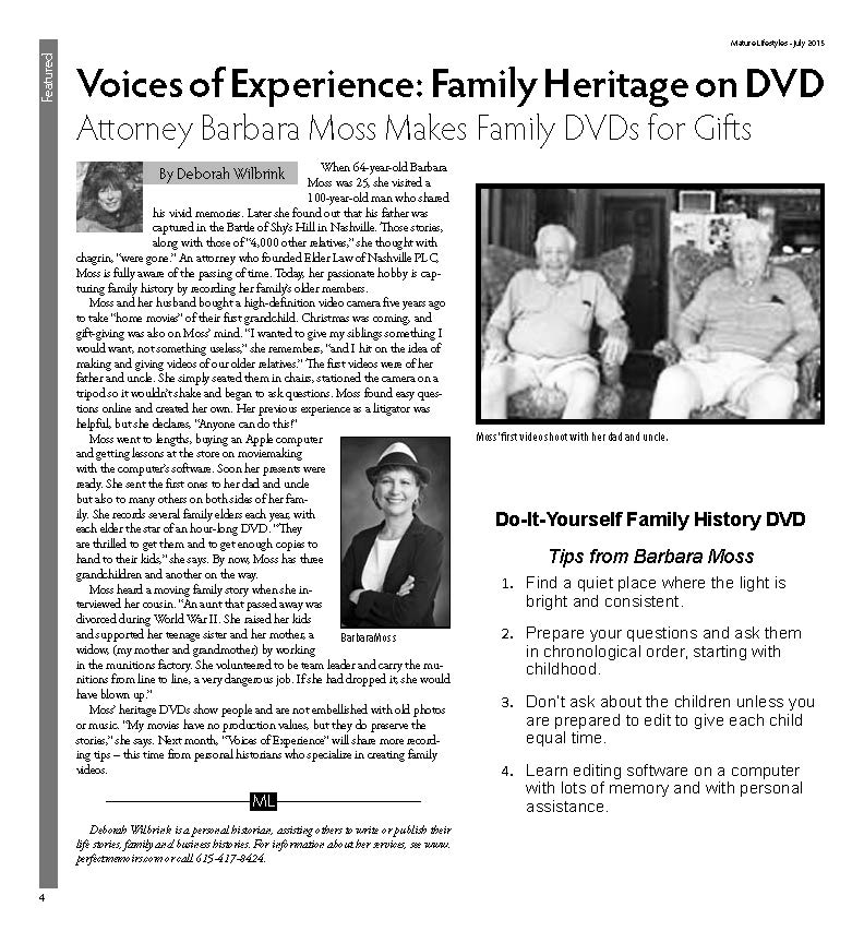 VOE Family Heritage on DVD Barbara Moss1page